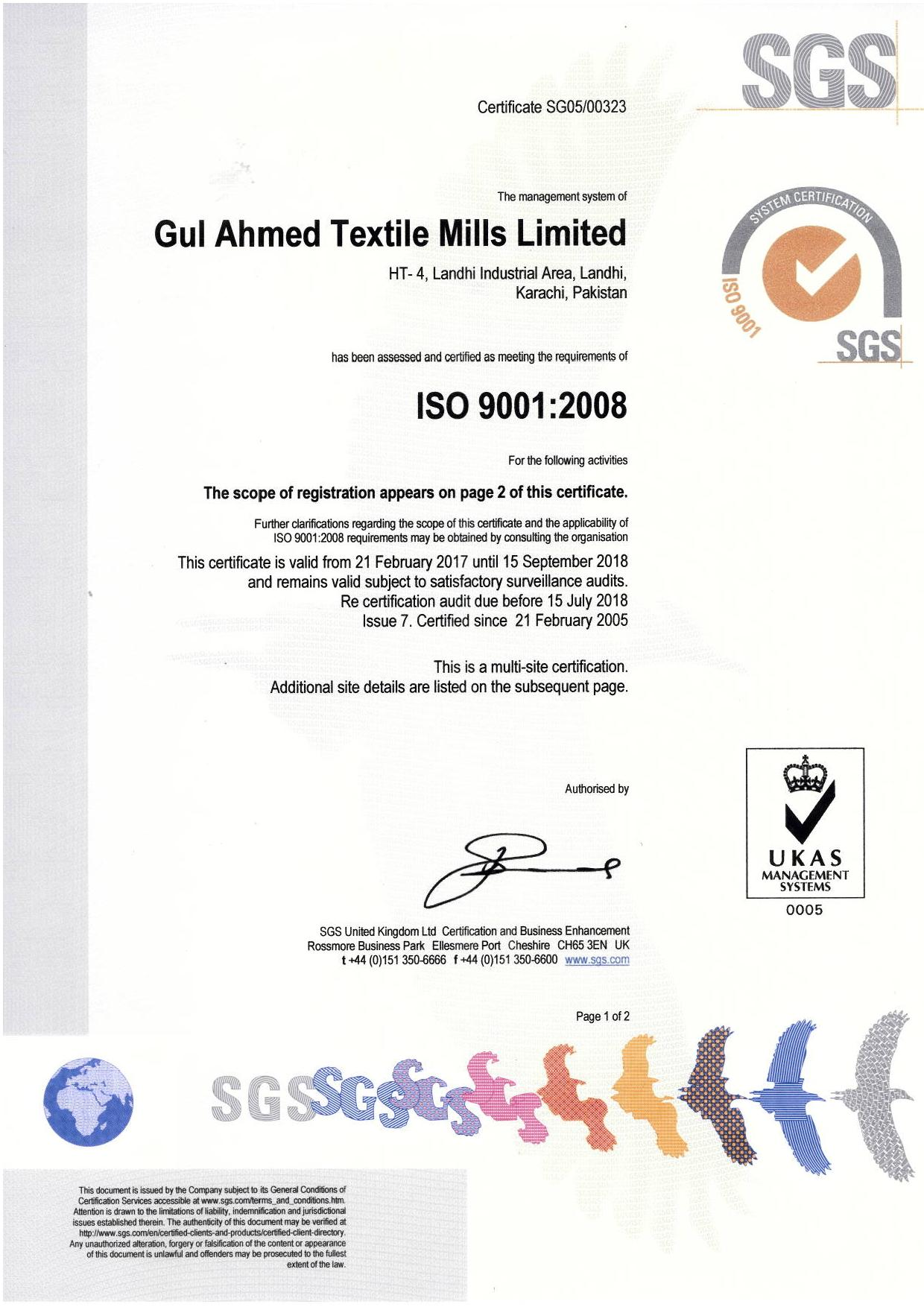 Certifications gul ahmed iso 90012008 certification on quality management systems xflitez Images