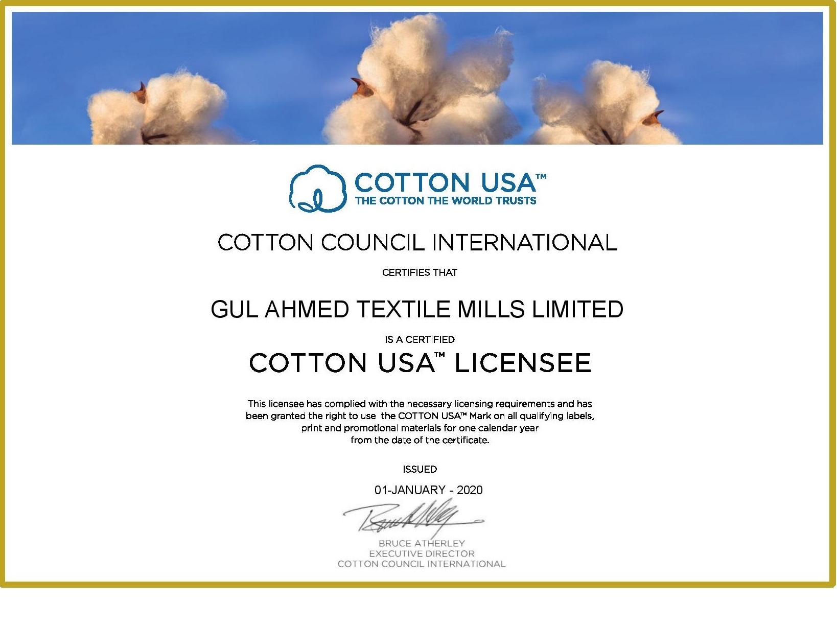 Cotton USA Licensing Certificate